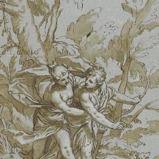 아도니스가 사냥을 떠나는 것을 만류하는 비너스