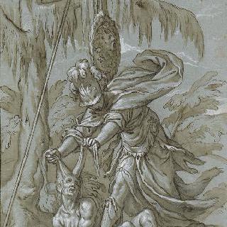 무지에 대한 지혜의 승리, 미네르바는 늙은 여자를 바닥에 쓰러뜨린다