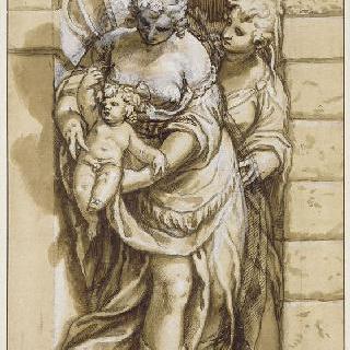 서 있는 두 여자, 그 중 한 명은 아이를 데리고 있다