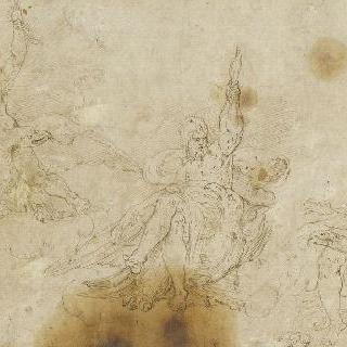 독수리 위에 앉아 벼락을 들고 있는 주피터를 묘사한 세 습작