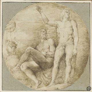 서 있는 헤라클레스와 옆에 붙어 앉아 있는 나체 남자