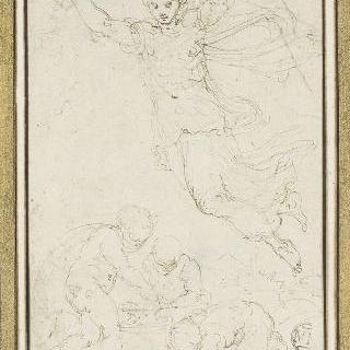화병 주위에서 놀고 있는 세 아이 위로 날고 있는 오로라