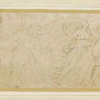 바쿠스 신의 여제관, 반인반마 그리고 다른 여러 인물들이 있는 행렬 일부