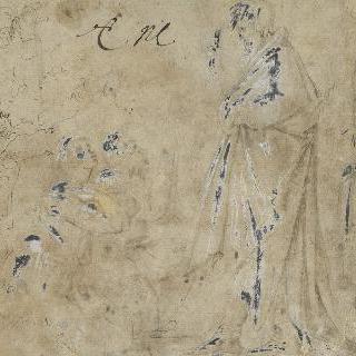 무릎꿇고 있는 사람들을 축복해주는 긴 휘장옷을 둘러 입은 서 있는 남자