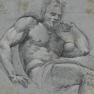 왼쪽 팔꿈치를 괴고 앉아 있는 남자 습작