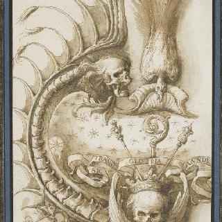 죽음의 상징들로 장식된 카르투슈의 좌측 절반