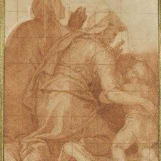무릎 꿇은 두 여인의 뒷모습과 한 아이