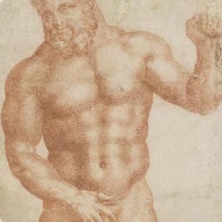 왼팔을 든 나체의 정면 반신 헤라클레스