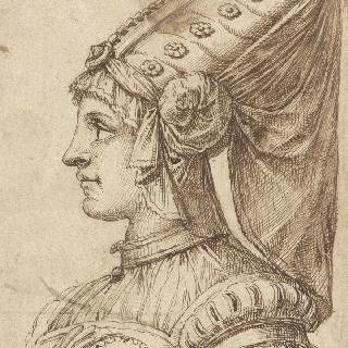 원뿔꼴 모자를 착용한 여인의 정면 흉상