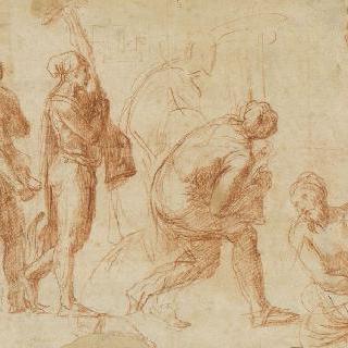 물건을 든 세 남자, 앉아 있는 한 남자와 다섯 번째 남자의 초벌화