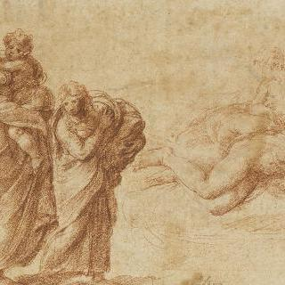 아이를 안고 있는 여인과 어린 소녀 : 누워있는 누드의 두 여인