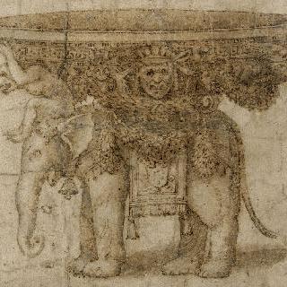 교황 메디치의 방패를 실은 코끼리와 수반을 지탱하는 원숭이