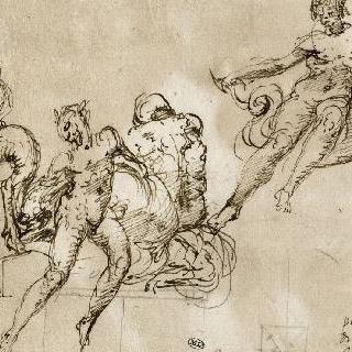 앉아 있는 누드의 세 인물과 사티로스
