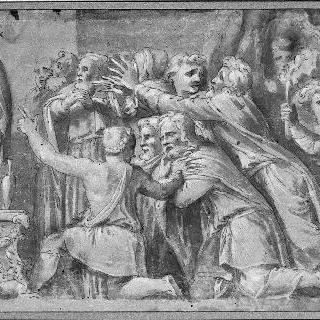 동상 앞에 엎드린 인물들 : 니오베의 프리즈 세부 묘사