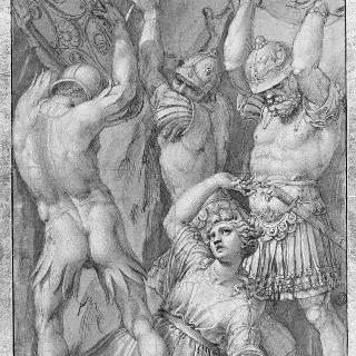 타티우스의 병사들의 방패에 맞아 죽는 타르페이아