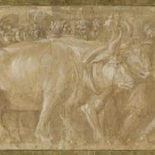 소와 말이 끄는 전차 위의 무기와 항아리