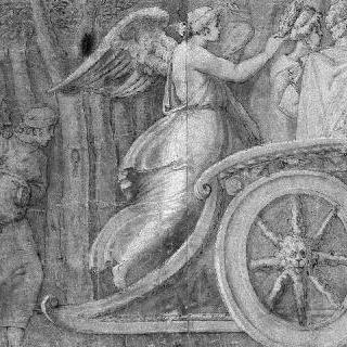 두 인물에게 왕관을 씌우는 날개 달린 여인 : 폴 에밀의 승리 세부 묘사