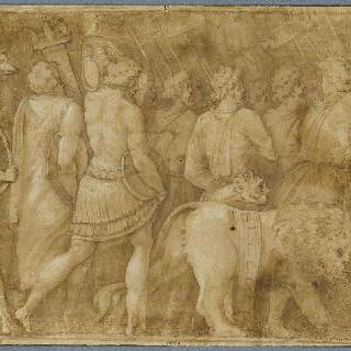 걷는 남자들과 두 마리의 사자. 폴 에밀의 승리의 세부 묘사