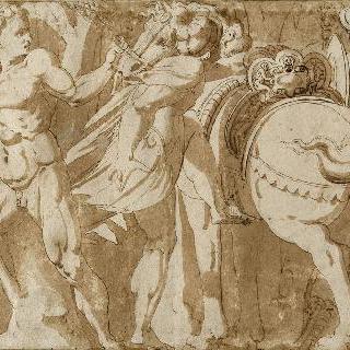 벌거벗은 남자를 잡고 말 위에 오르는 전사