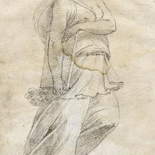 오른쪽 방향을 머리를 돌린 주름진 옷을 입은 여인의 정면상