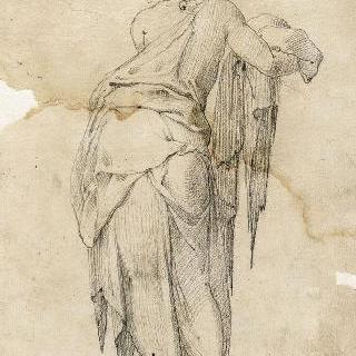오른 팔로 모직 직물을 잡고 서 있는 여인의 뒷모습