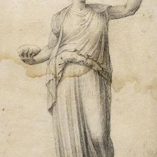 오른손으로 잔을 들고 왼쪽 팔을 들고 서 있는 여인