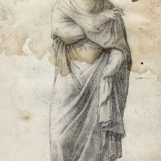 오른팔을 가슴 위에 올려놓은 채 서 있는 여인의 정면상