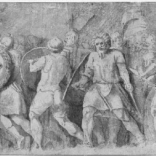 전투지로 가는 전사들, 길을 보여주는 왕