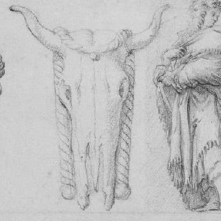 고대 가면 : 소의 머리, 주름진 가면을 쓴 남자, 남자 초벌화