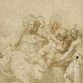 아기 예수를 안고 있는 성모, 작은 성 요한과 일곱명의 성인들