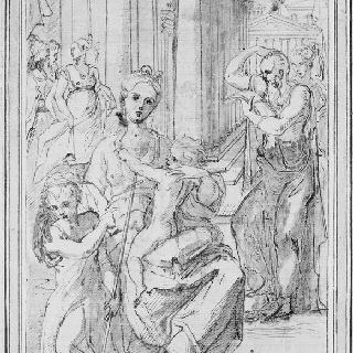 아기 예수를 안고 있는 성모, 성 요한과 다른 인물들