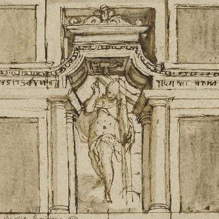 건축물 틀 안의 십자가를 지고 있는 그리스도