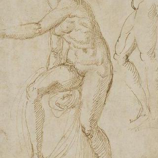 서 있는 여인의 누드 : 머리가 없는 측면의 나체