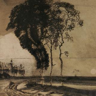 세 그루의 나무가 있는 풍경