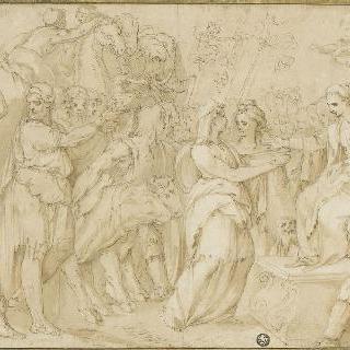 왕좌에 앉은 여자 앞에서 소개를 하고 있는 사람과 동물의 행렬