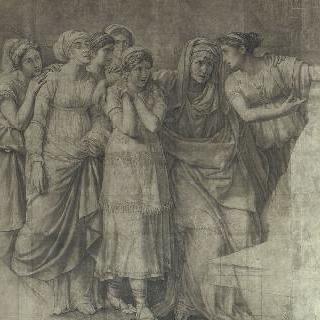 나임의 미망인을 부축하는 두 명의 여인들이 포함된 소녀/여인의 무리