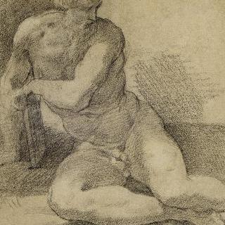한 손을 기댄 채 바닥에 앉아 있는 나체의 남자