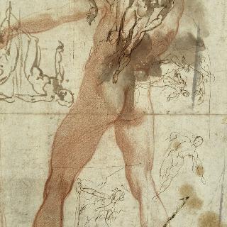왼팔을 든 등이 보이는 나체 남자 ; 샘물가의 나르시스에 대한 습작