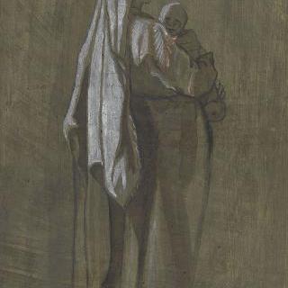 팔로 아이를 안고 서 있는 긴 휘장옷을 입은 여자