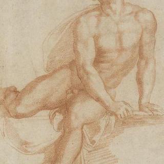 오른쪽 다리를 들고 앉아 있는 남자의 정면 나체화