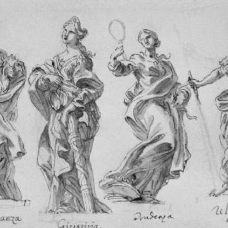 서 있는 네 명의 역품 천신 : 절제, 정의, 신중, 종교