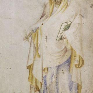 왼 손에 책을 들고 서 있는 성 토마스