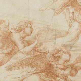 오른쪽 방향으로 날고 있는 세 천사