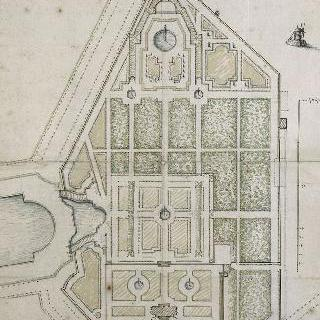 그랑 트리아농 정원의 도면, 운하 끝의 비탈과 트리아농의 증가의 데생