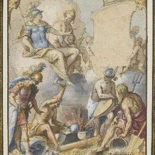헤르메스, 포세이돈과 마르스가 지켜보는 가운데 아킬레우스의 무기를 만드는 불카누스