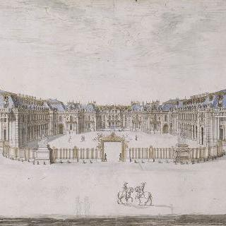 파리쪽의 베르사유 궁의 입면도