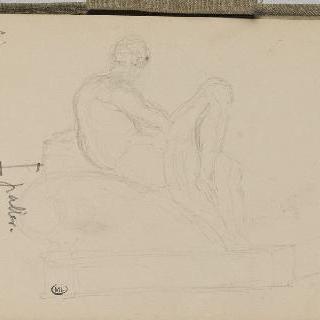 화첩 : 도면, 누워있는 인물을 묘사한 조각 크로키와 숫자로 된 주석