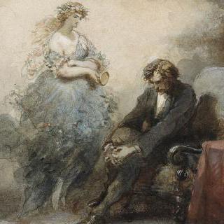 아폴드 라로즈가 조각한 알드레드 드 뮈세 작품 습화 (1838-1906) : 5월의 밤