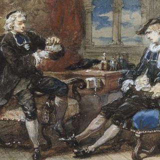 아폴드 라로즈가 조각한 알드레드 드 뮈세 작품 습화 (1838-1906) : 수종