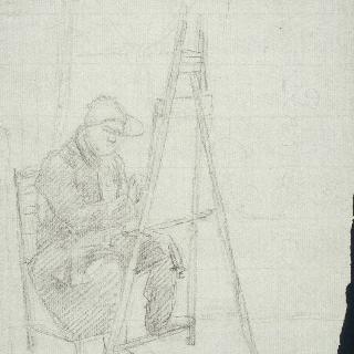 앉아서 그림 작업을 하는 여화가